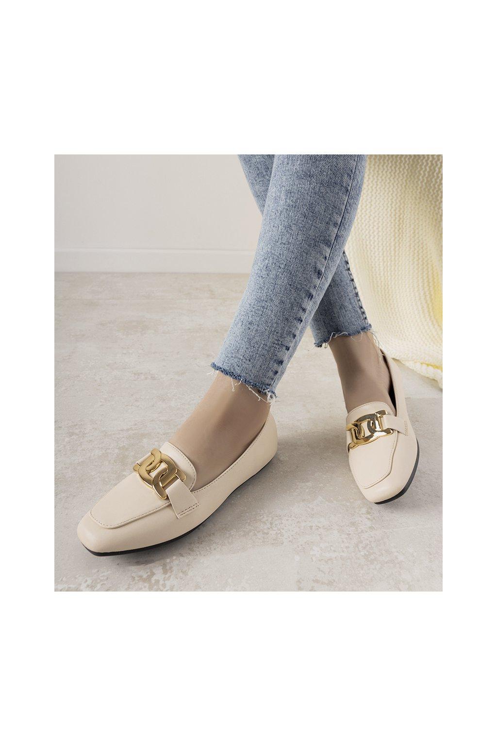 Dámske topánky mokasíny hnedé kód G0-26 - GM