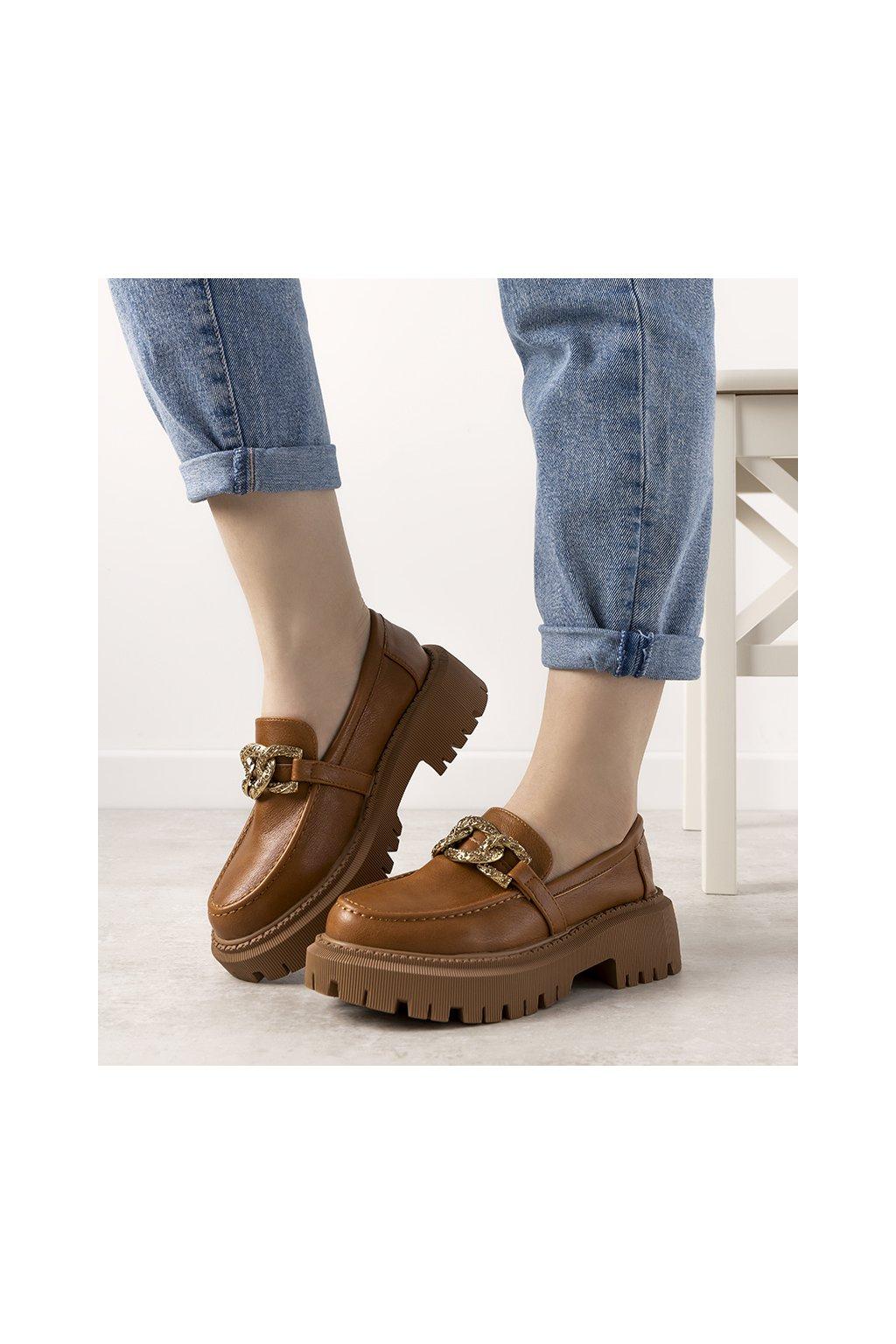 Dámske topánky mokasíny hnedé kód 333-159 - GM