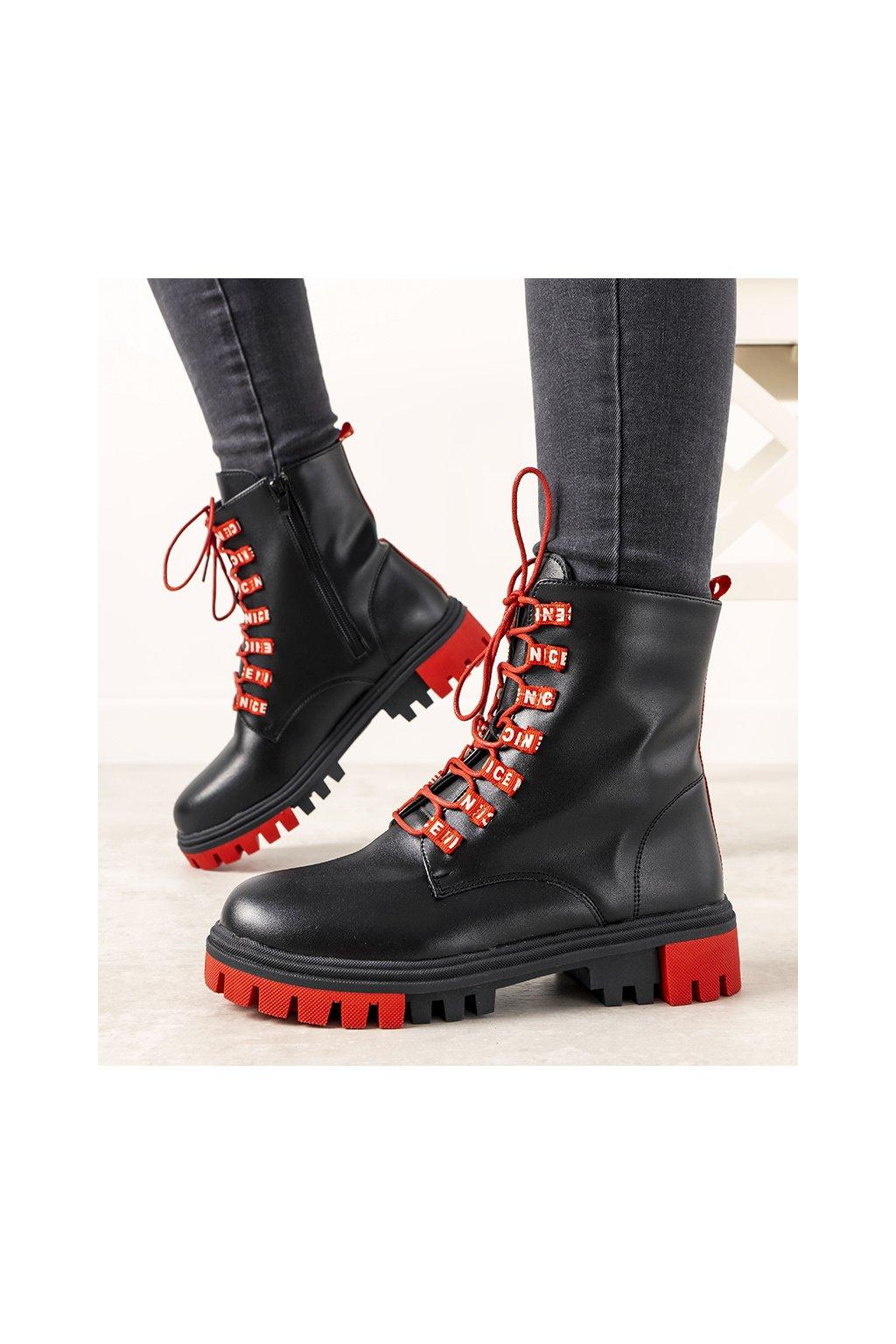 Dámske členkové topánky trapery čierne kód 021-20 - GM