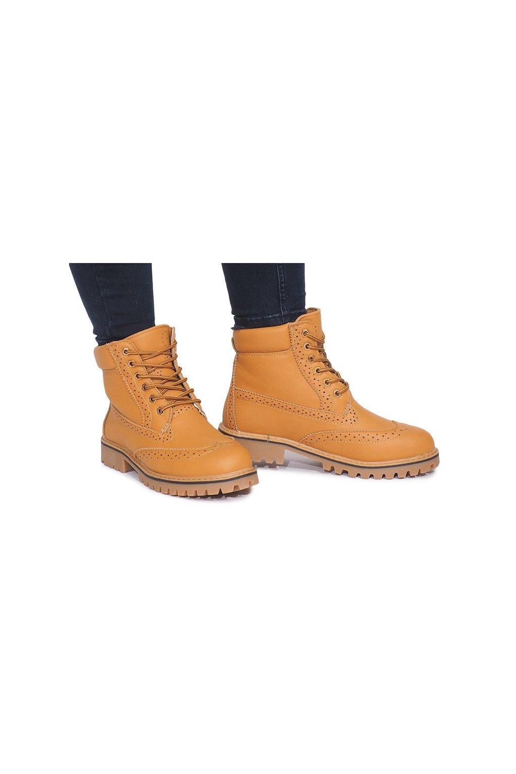 Dámske členkové topánky trapery hnedé kód BH92-KB - GM