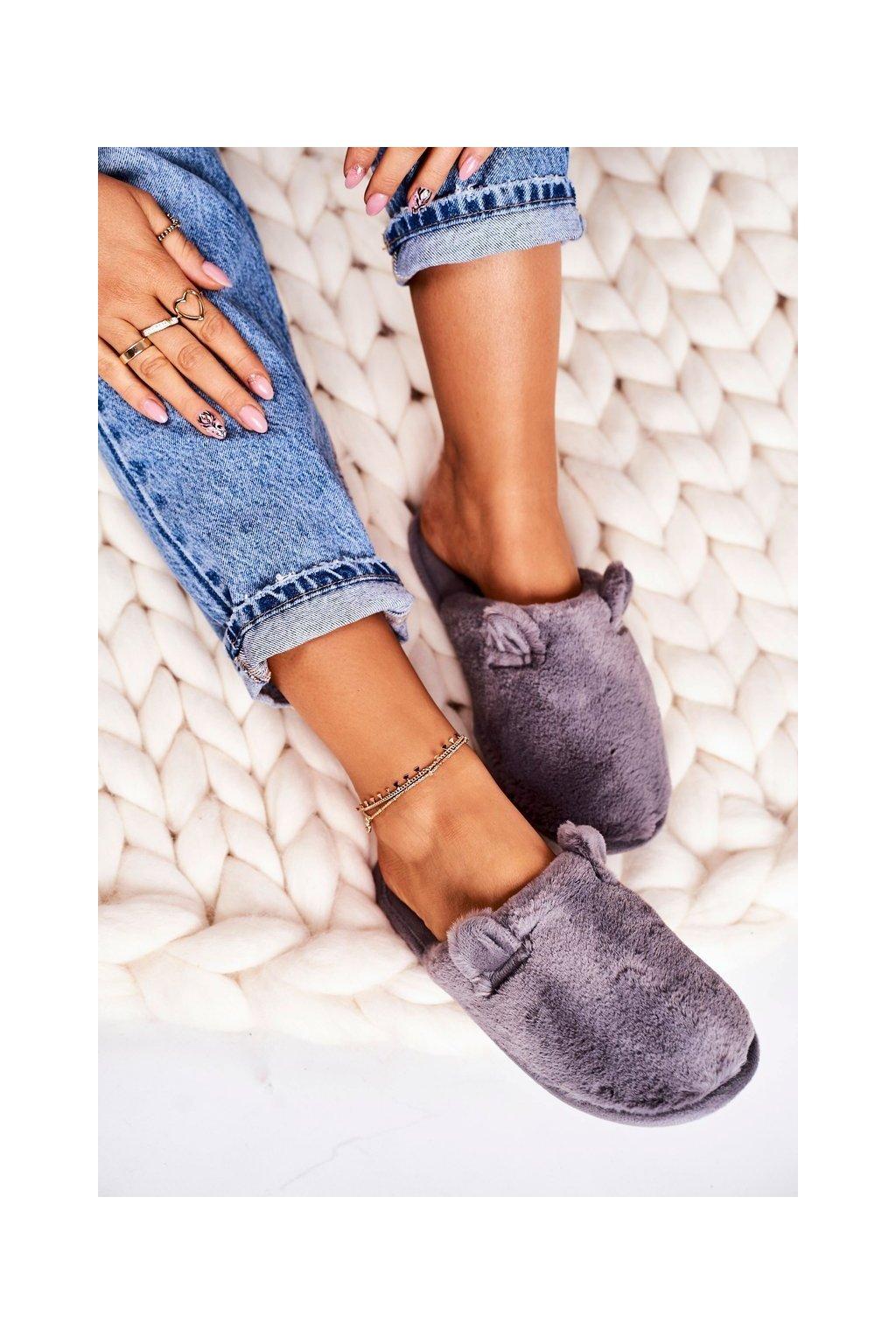 Dámske šľapky farba sivá kód obuvi KP01-9 GREY