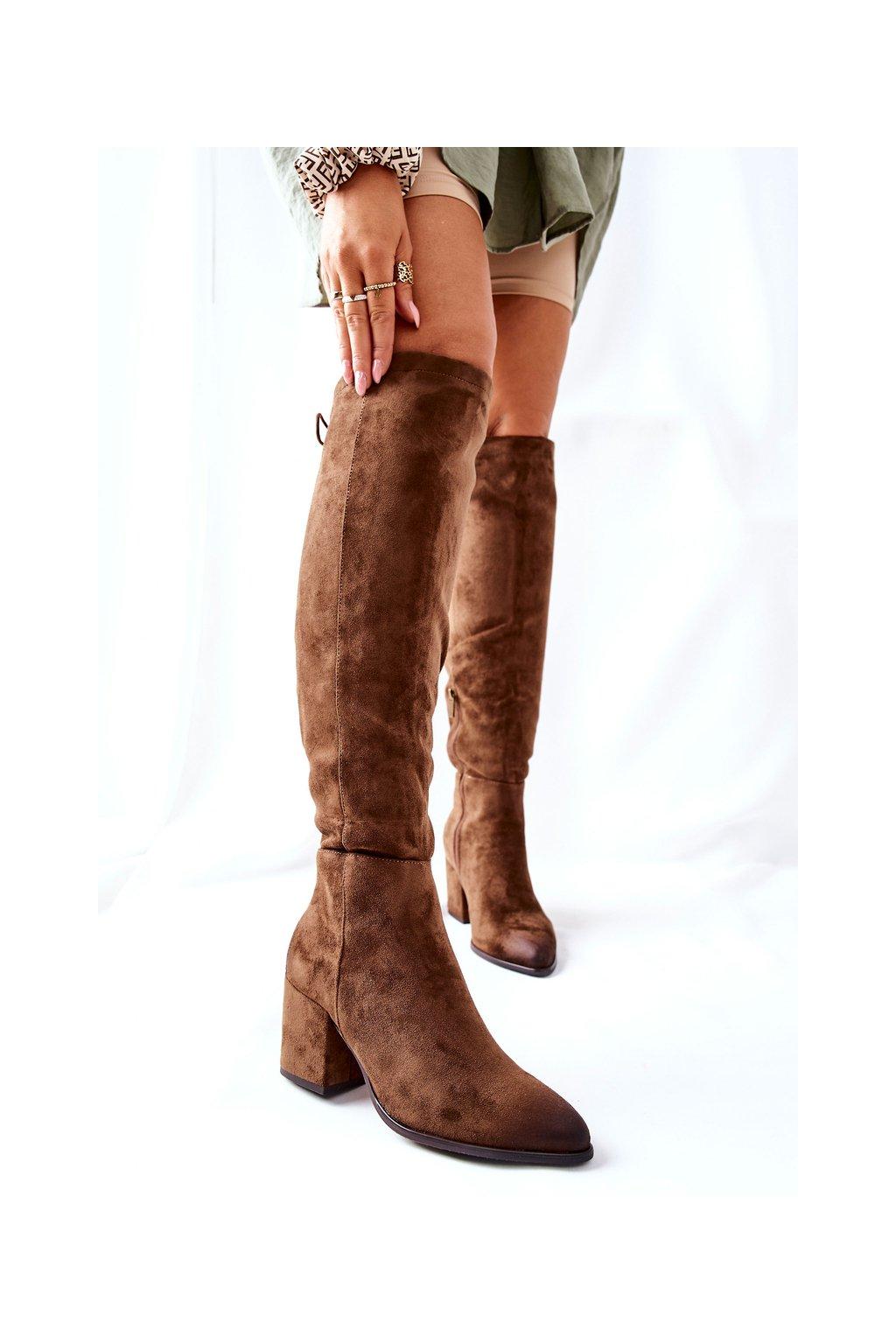 Dámske čižmy farba hnedá kód obuvi 22-10623 KHAKI