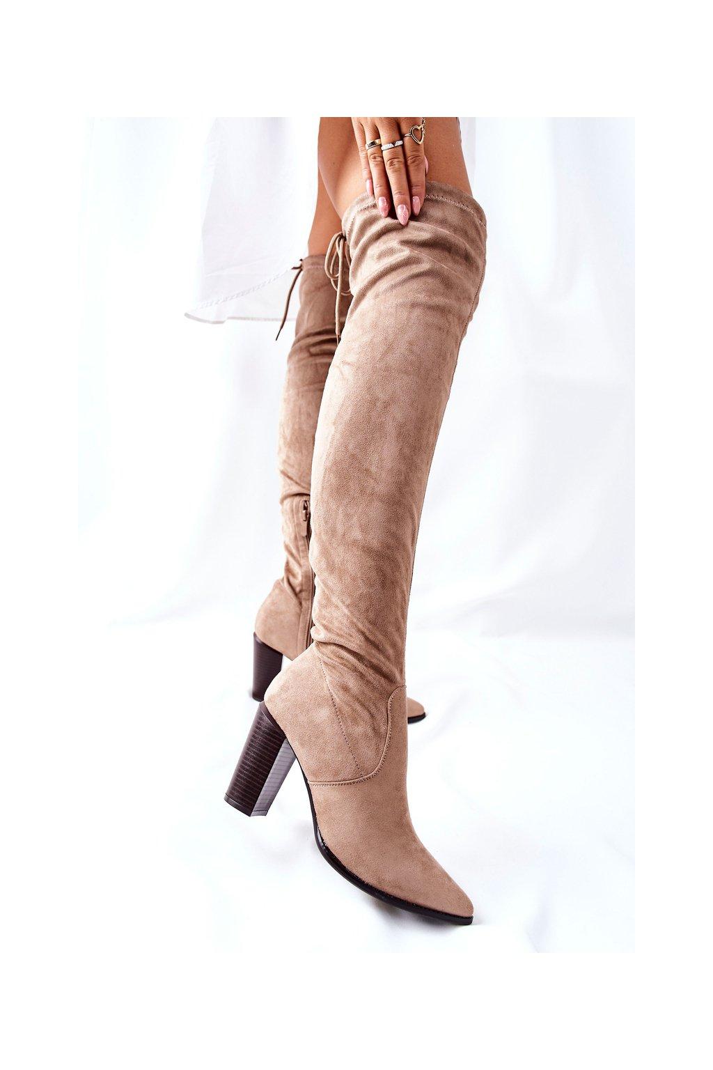 Dámske čižmy farba hnedá kód obuvi 22-16283 BEIGE