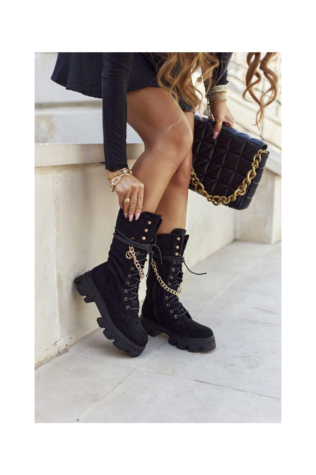 Členkové topánky na podpätku farba čierna kód obuvi NC1238 BLK