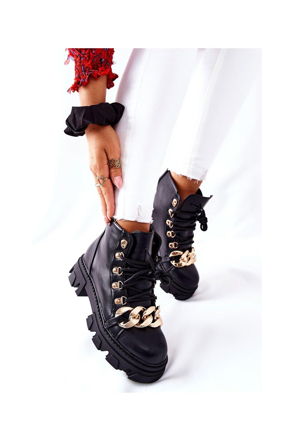 Členkové topánky na podpätku farba čierna kód obuvi NC1203 BLK