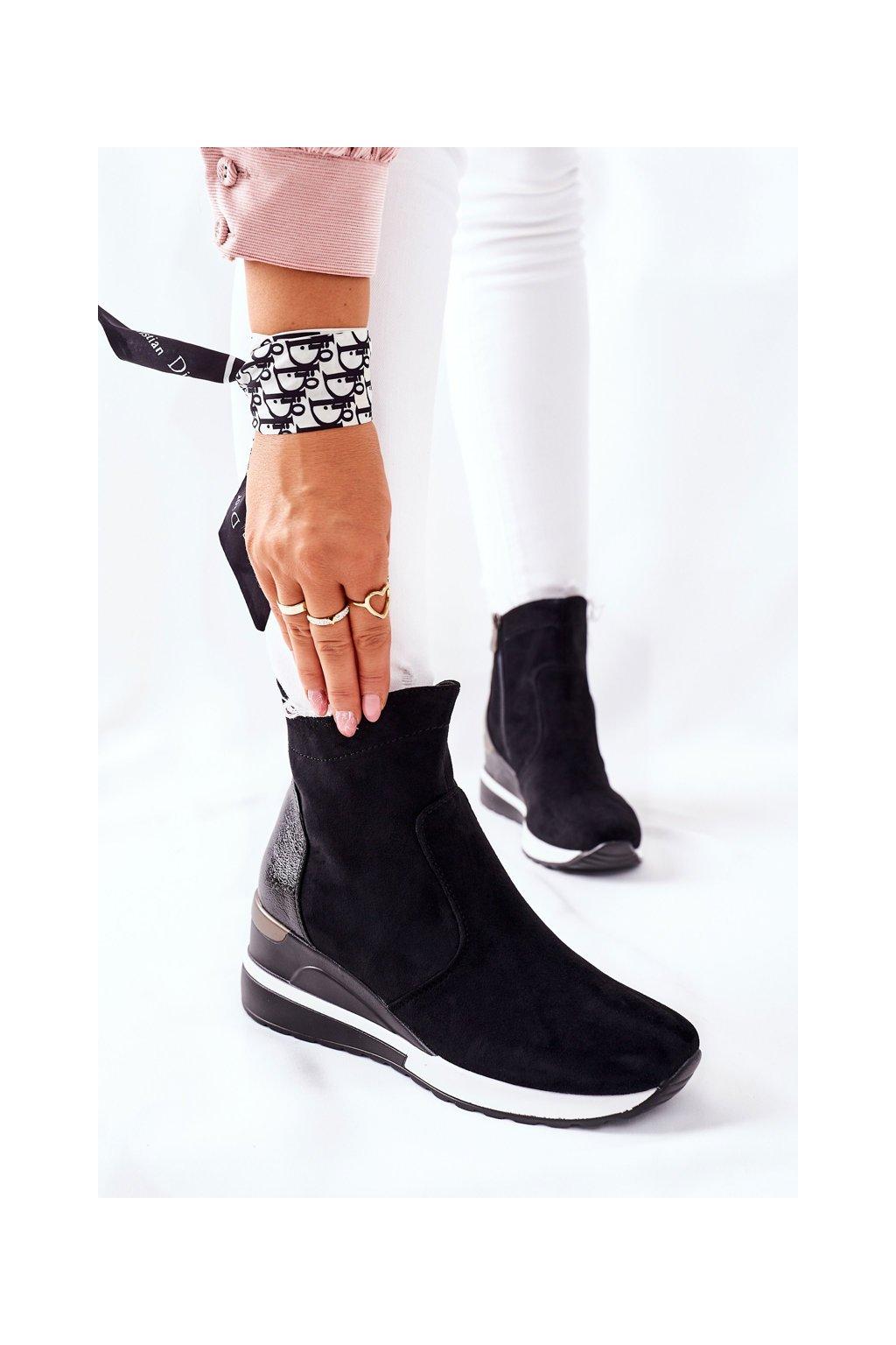 Členkové topánky na podpätku farba čierna kód obuvi 22-10648 BLK