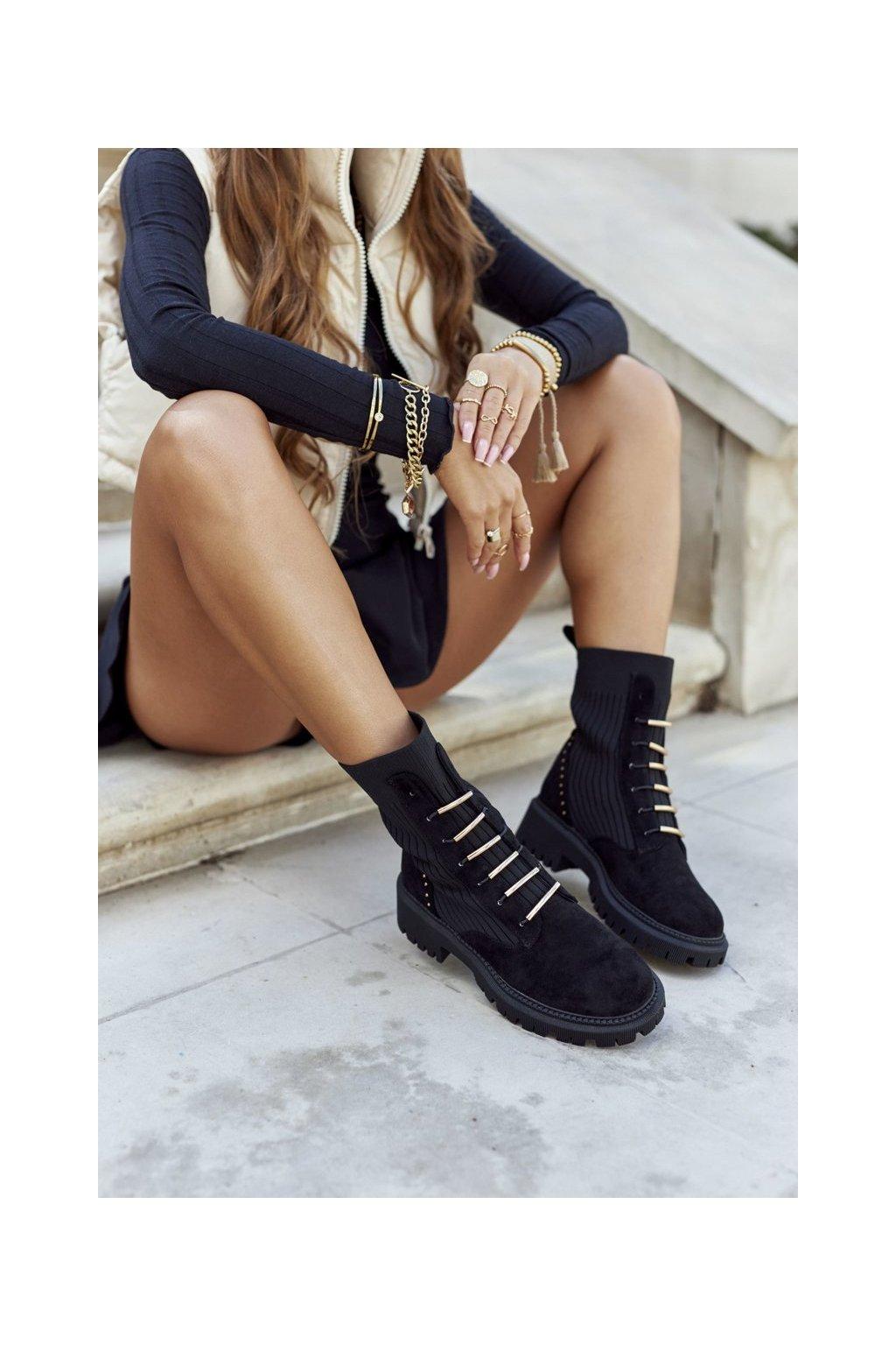 Členkové topánky na podpätku farba čierna kód obuvi A7201 BLK