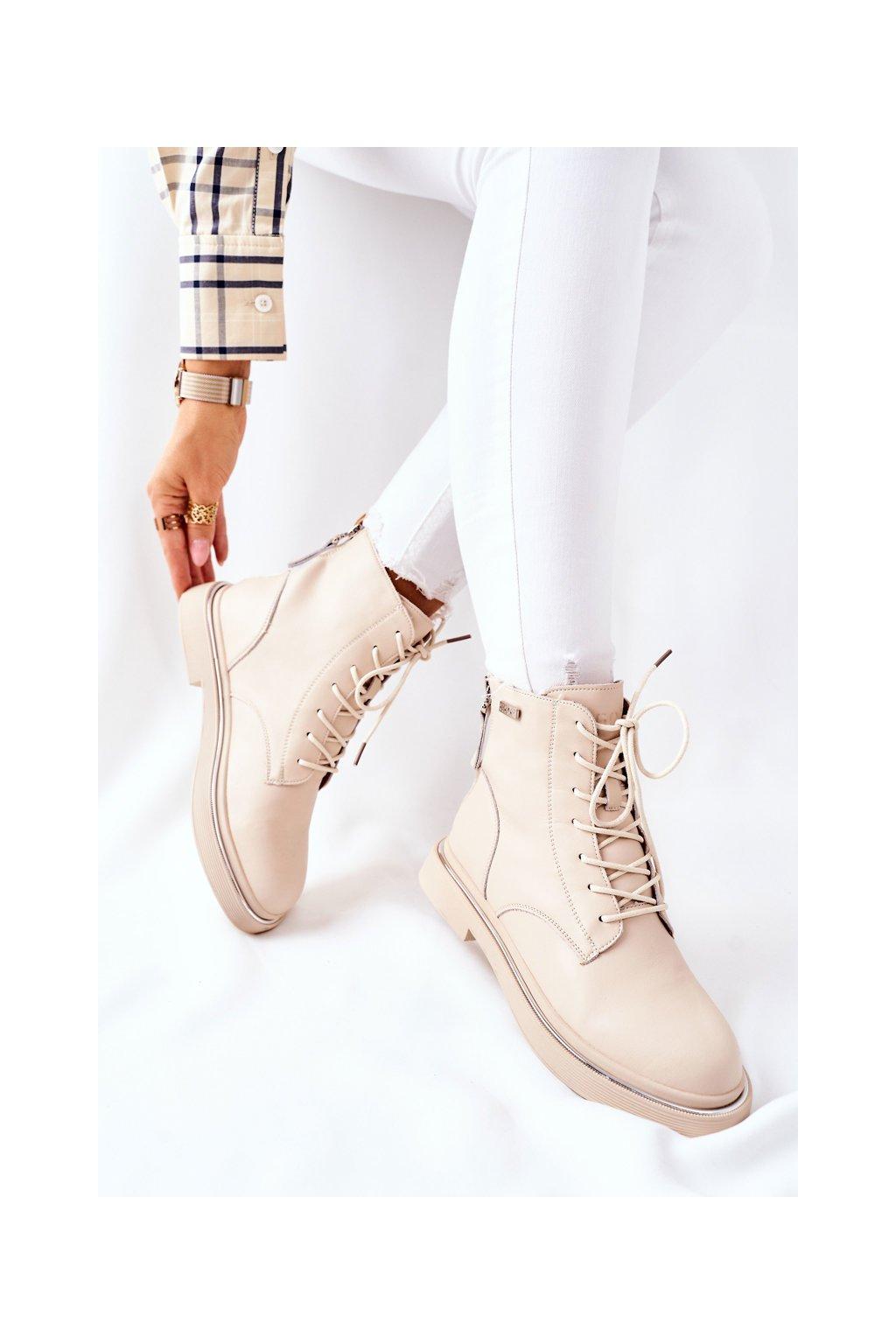 Členkové topánky na podpätku farba hnedá kód obuvi II2N4015 BEIGE