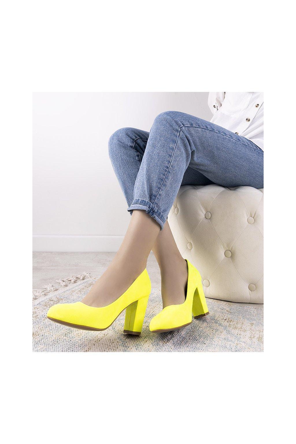 Dámske topánky lodičky žlté kód DH02 - GM