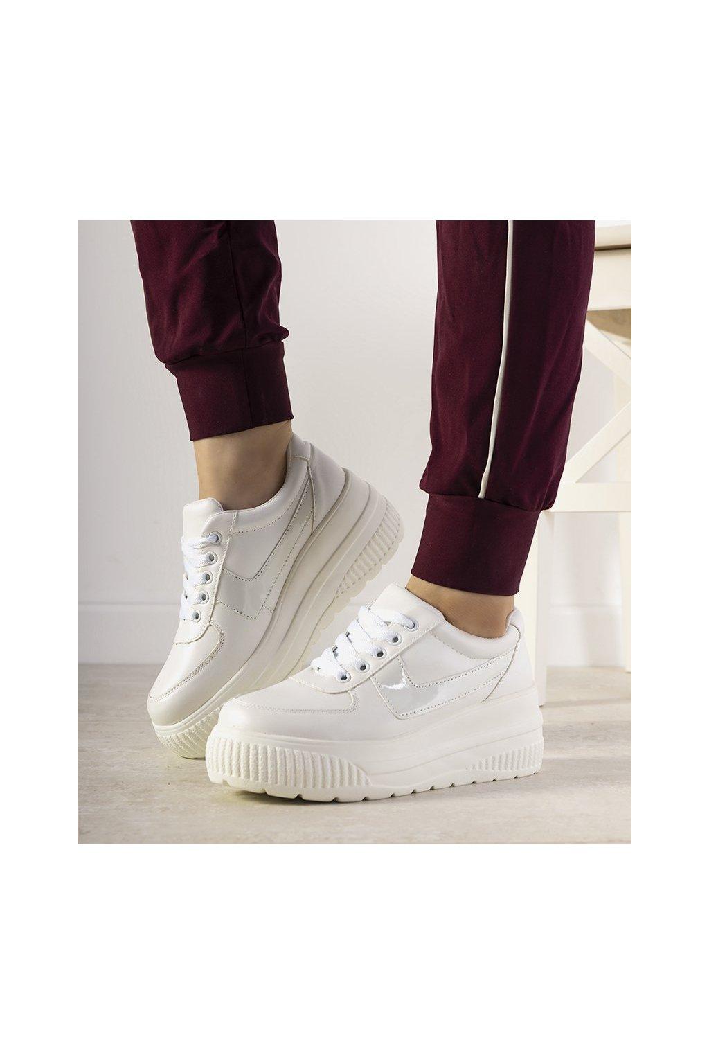 Dámske topánky tenisky biele kód E3141 - GM