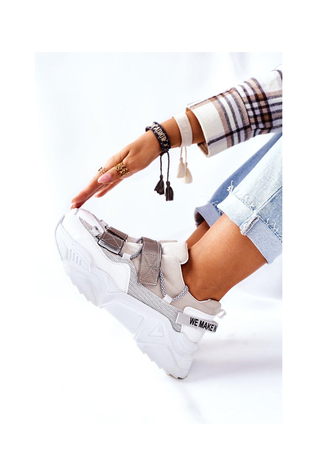 Dámske tenisky farba biela kód obuvi 21-56004 SILVER