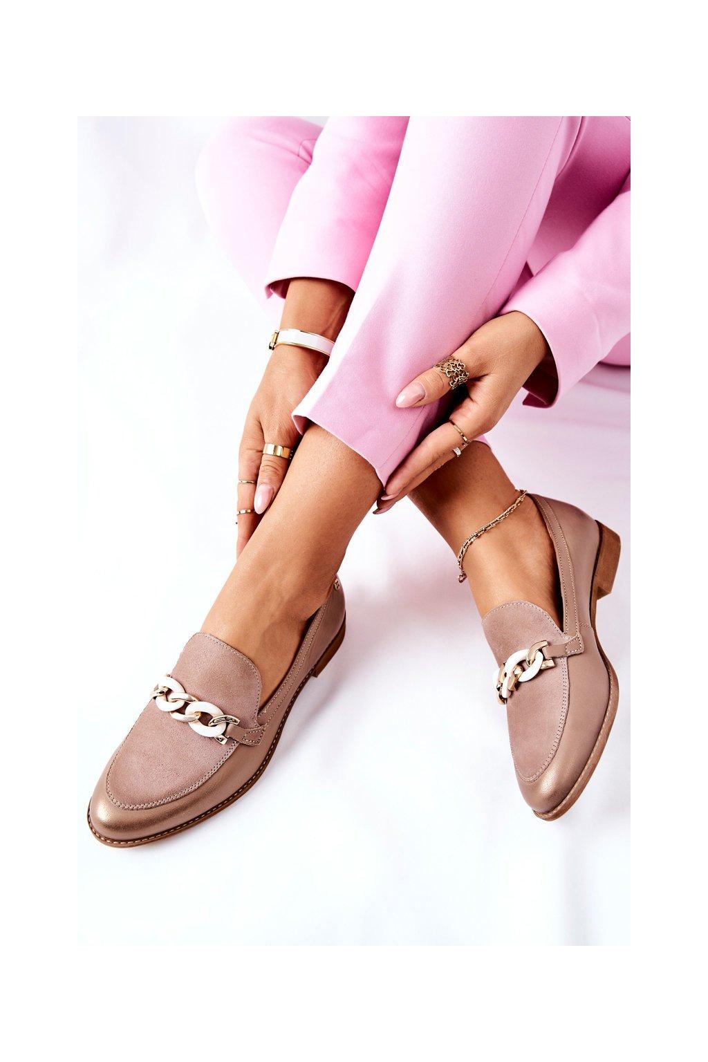 Dámske poltopánky farba hnedá kód obuvi 4099B-04/00-1 BEIGE