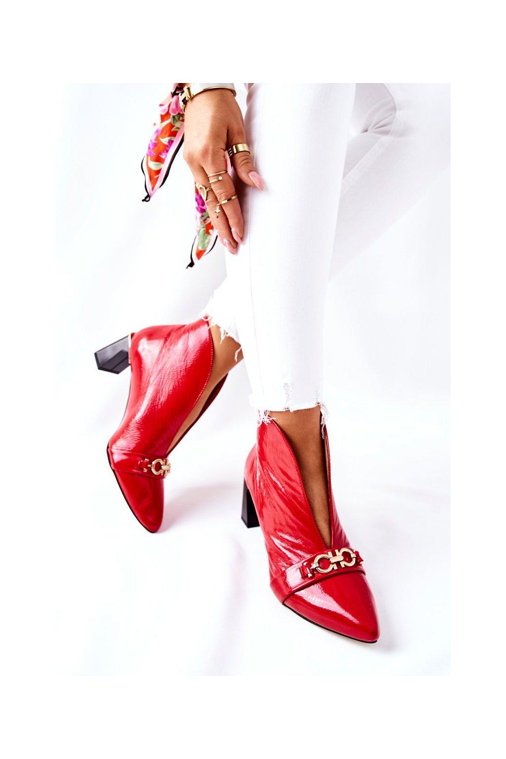 Členkové topánky na podpätku farba červená kód obuvi 05262-08/00-1 RED
