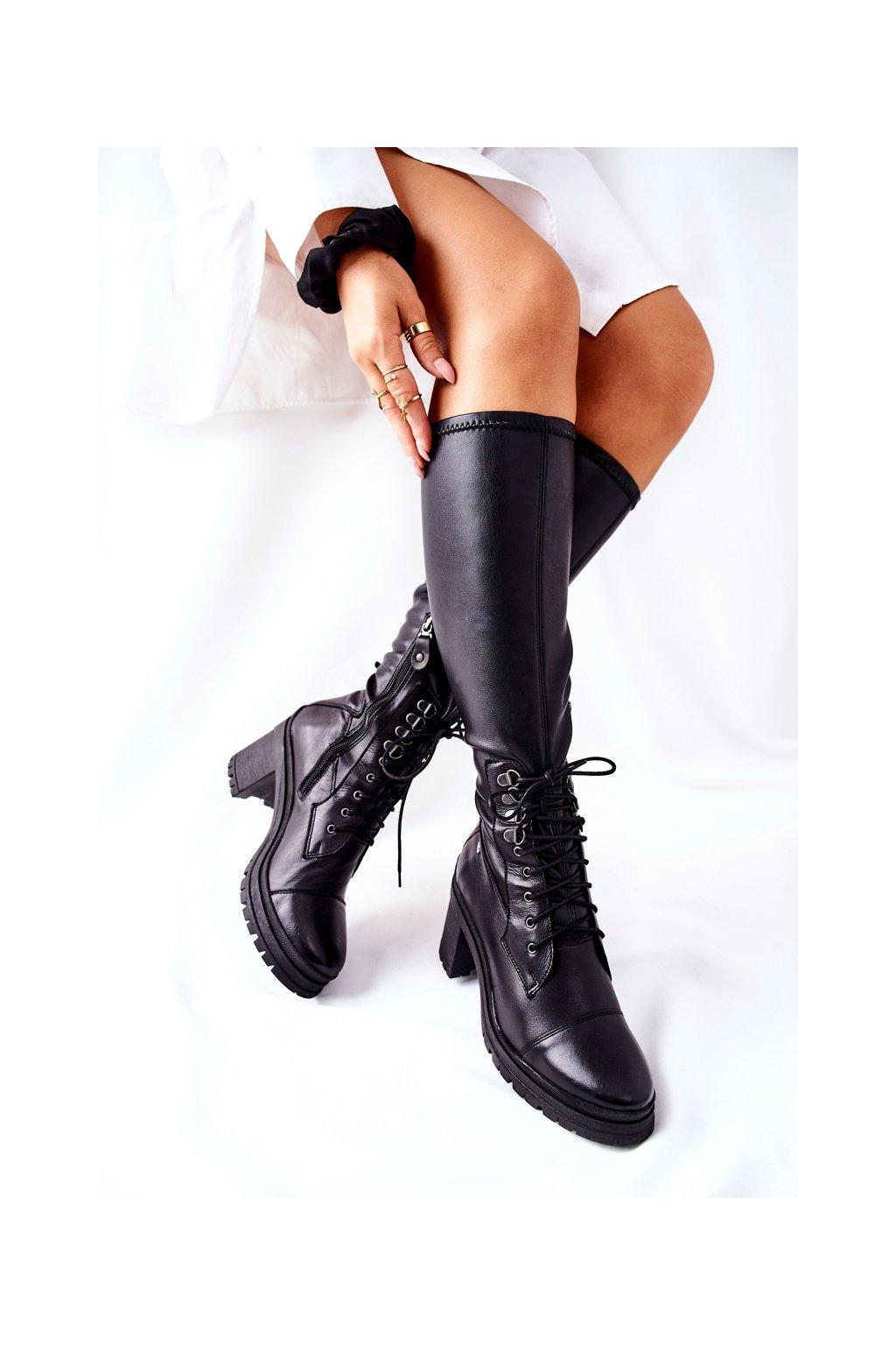 Dámske čižmy farba čierna kód obuvi 04782-01 BLK