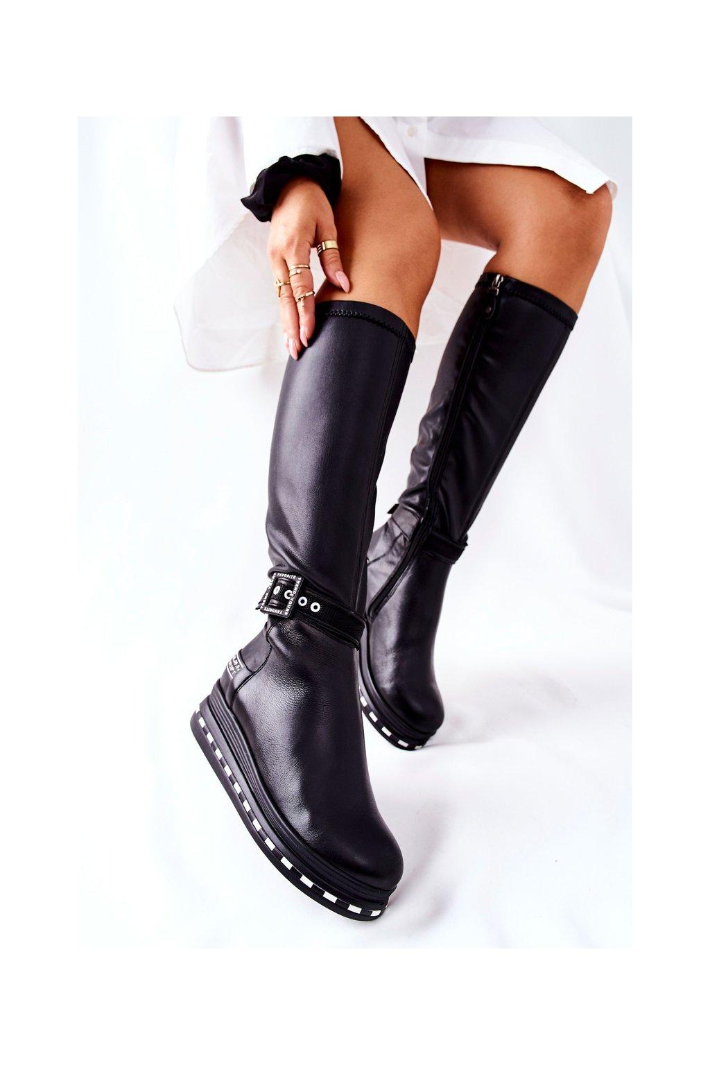 Dámske čižmy farba čierna kód obuvi 05293-01 BLK