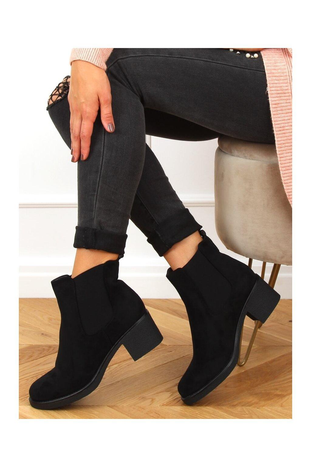 Dámske členkové topánky čierne na širokom podpätku SP102