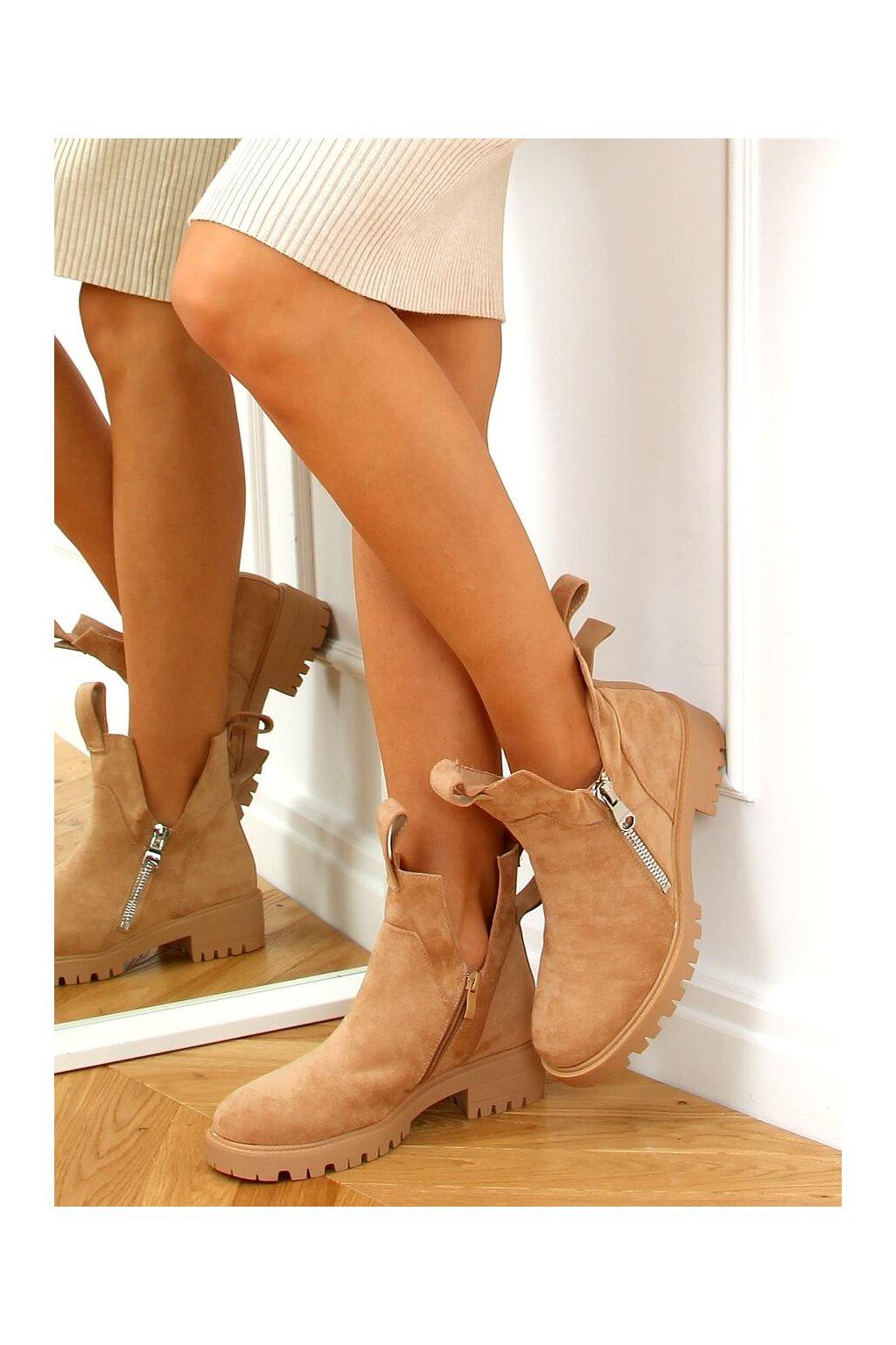 Dámske členkové topánky hnedé na plochom podpätku SP150