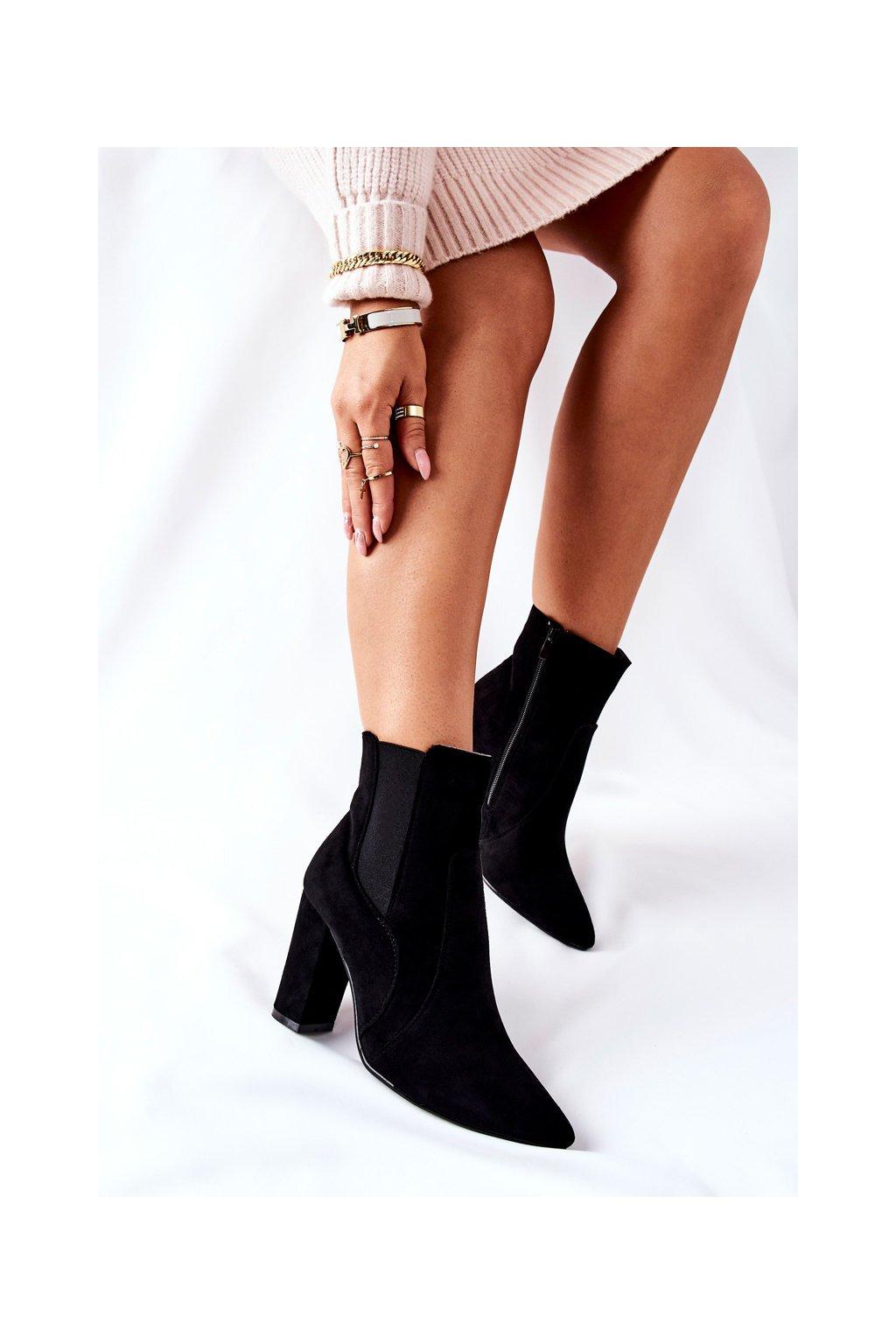 Členkové topánky na podpätku farba čierna kód obuvi TX-1847 BLK