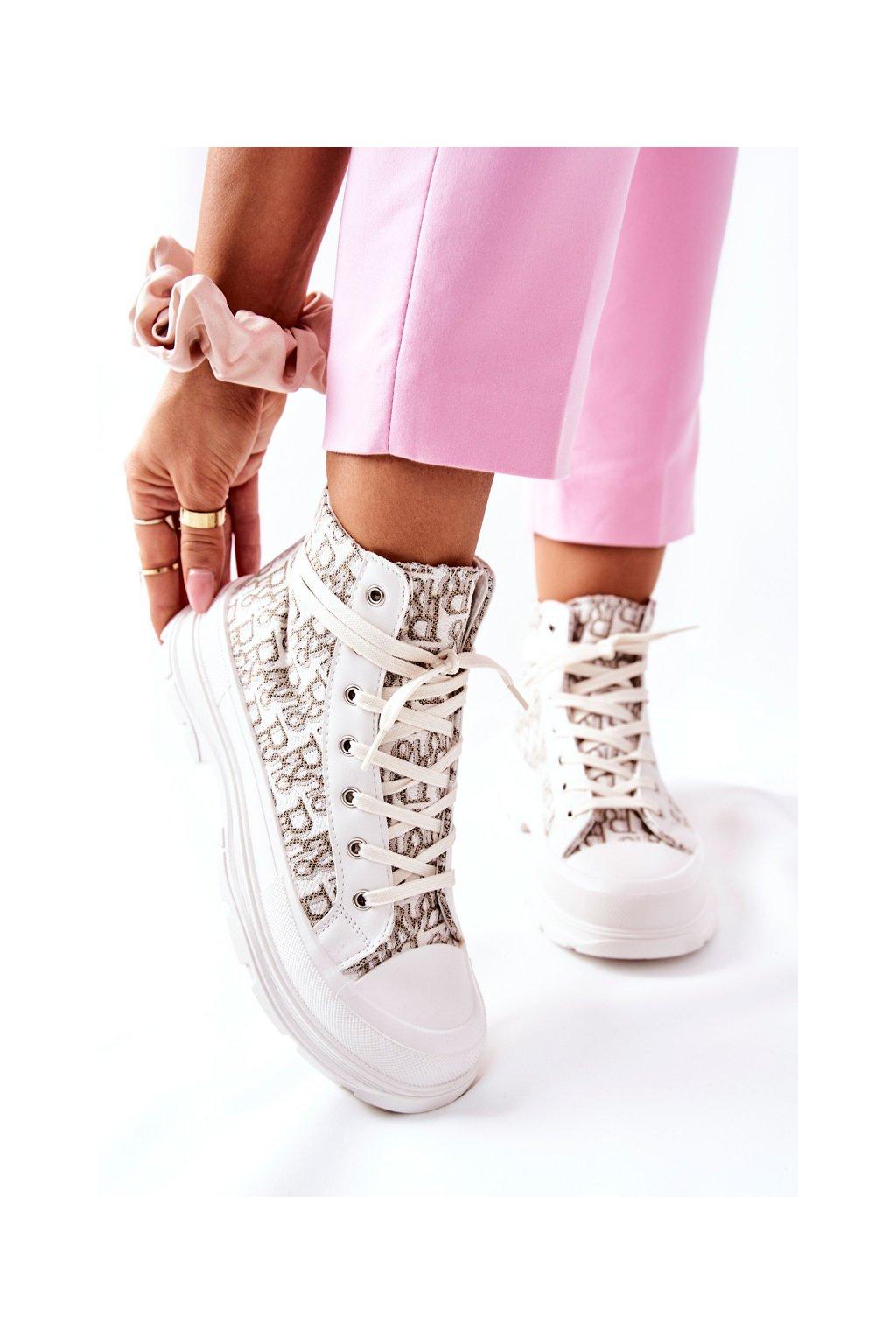 Dámske tenisky farba biela kód obuvi BO-816 BEIGE