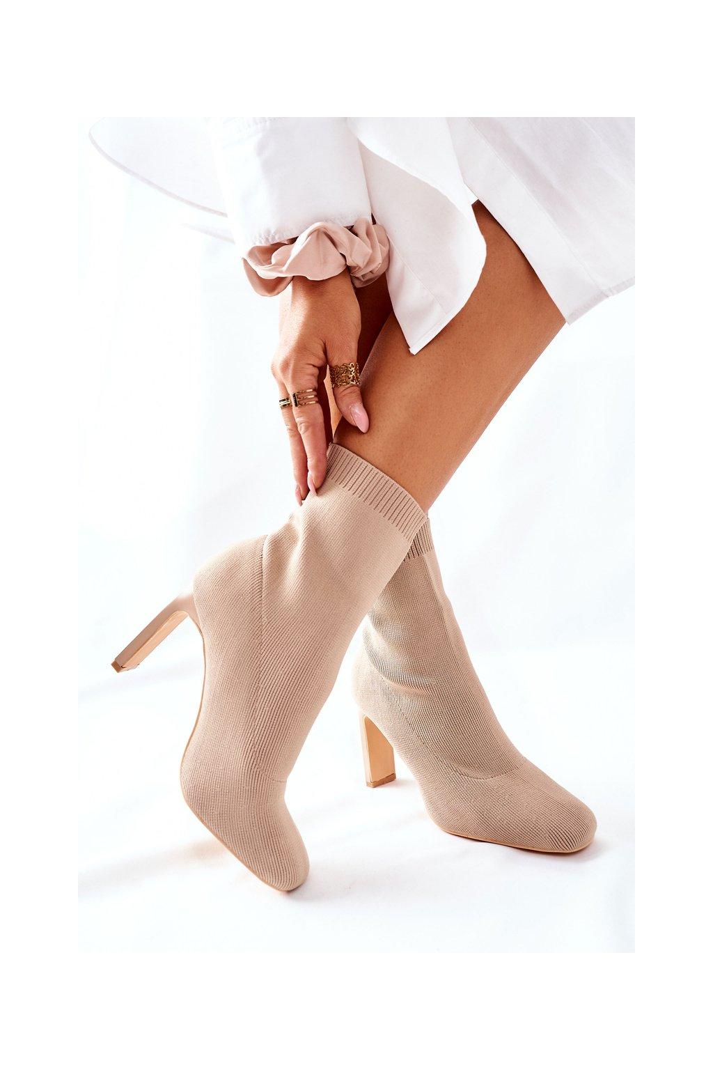 Členkové topánky na podpätku farba hnedá kód obuvi H21-65 KHAKI