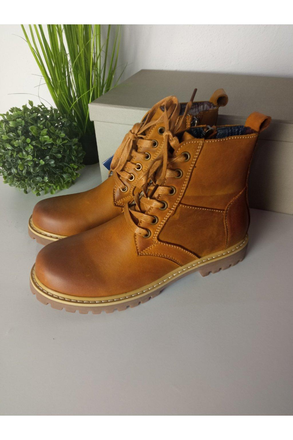 Členkové hnedé topánky NJSK SH5371-2DK.BR