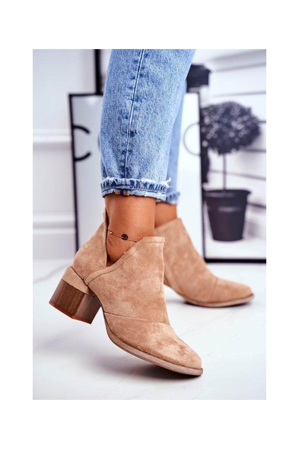 Členkové topánky na podpätku farba hnedá kód obuvi A6100-63 KHAKI