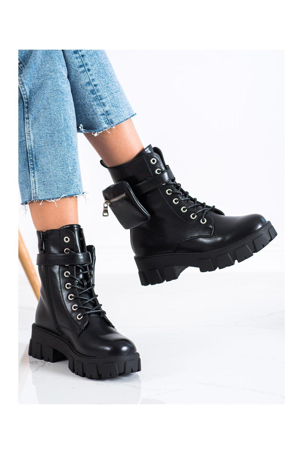 Čierne dámske topánky Vinceza kod HX22-16275B