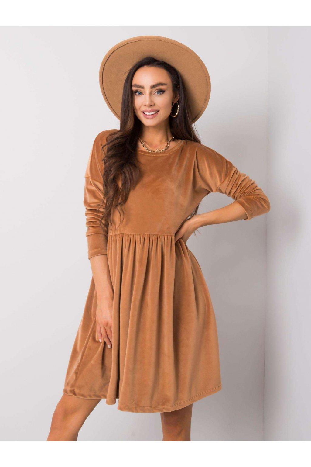 Dámske zamatové šaty hnedé NJSK RV-SK-6111.04X
