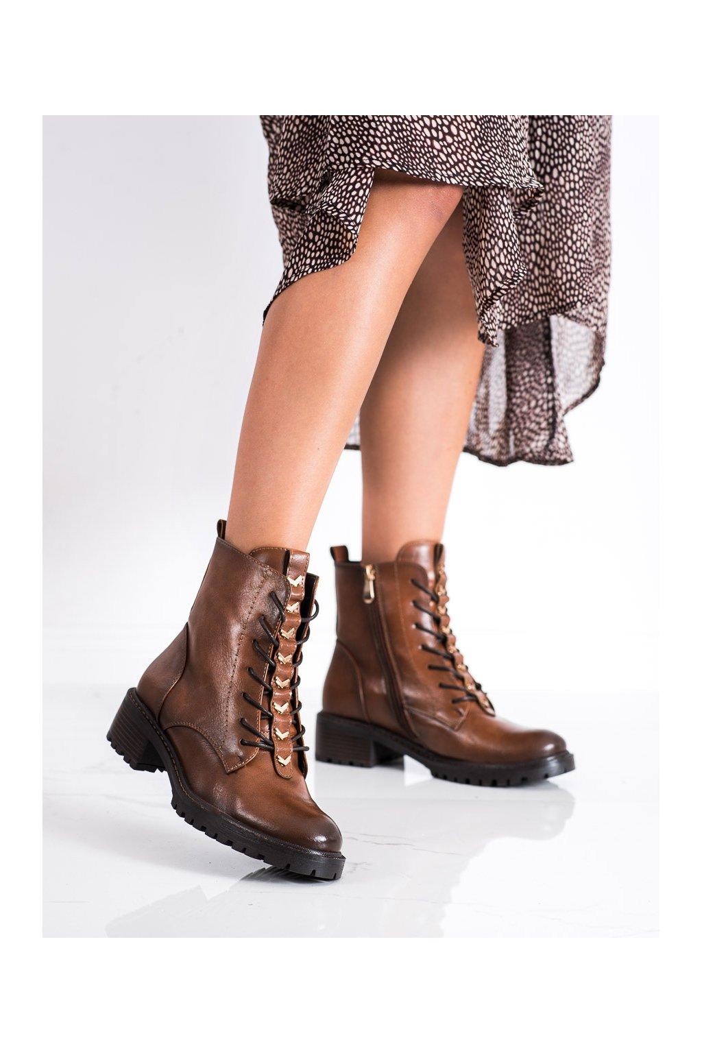 Hnedé dámske topánky Vinceza kod XY22-10662C