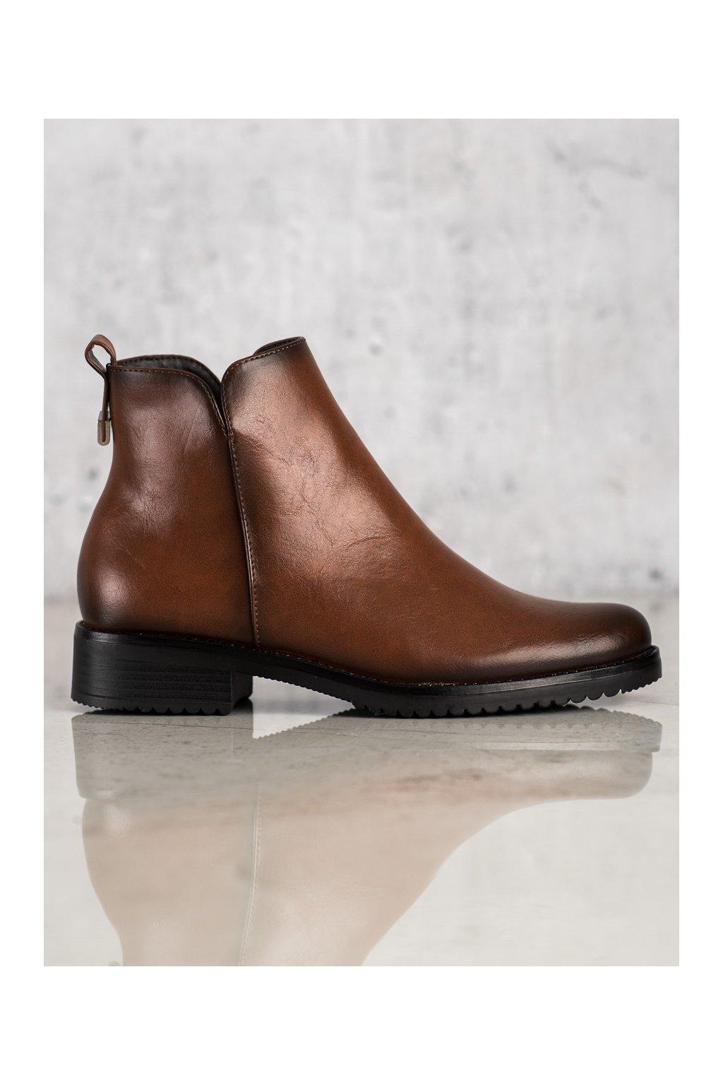 Hnedé dámske topánky Vinceza kod XY22-10669C