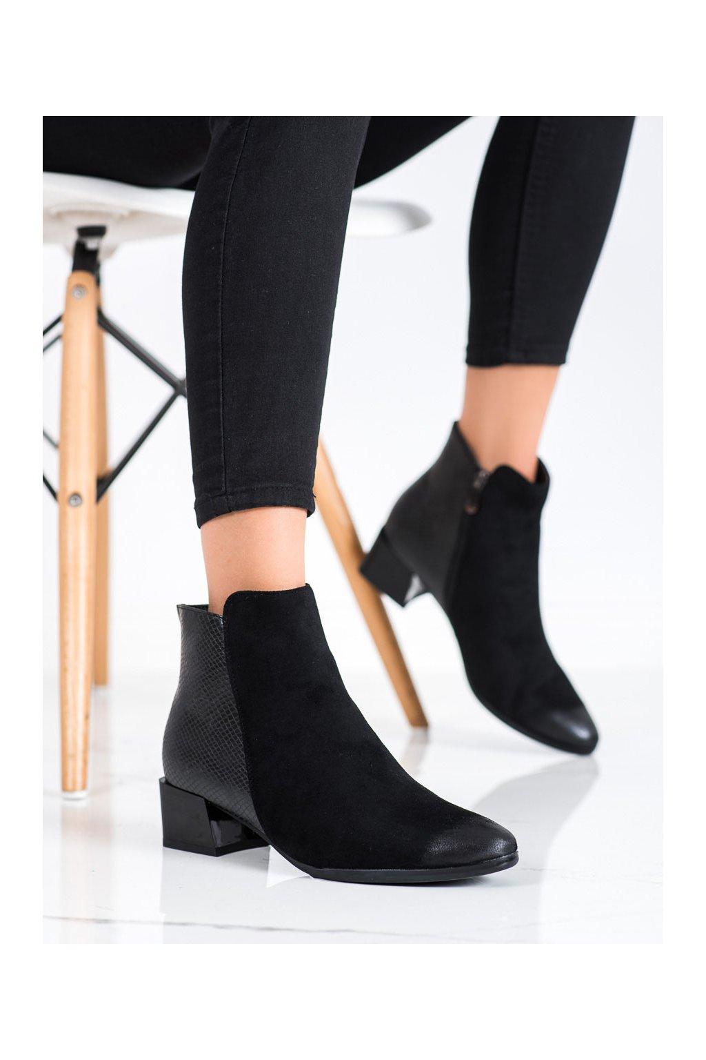 Čierne dámske topánky Vinceza kod XY22-10640B