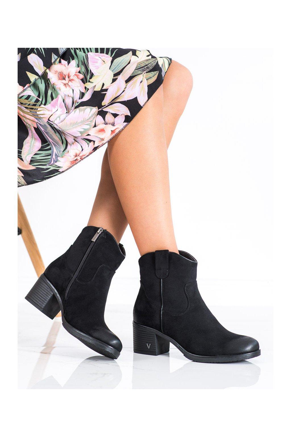 Čierne dámske topánky Vinceza kod XY22-10629B