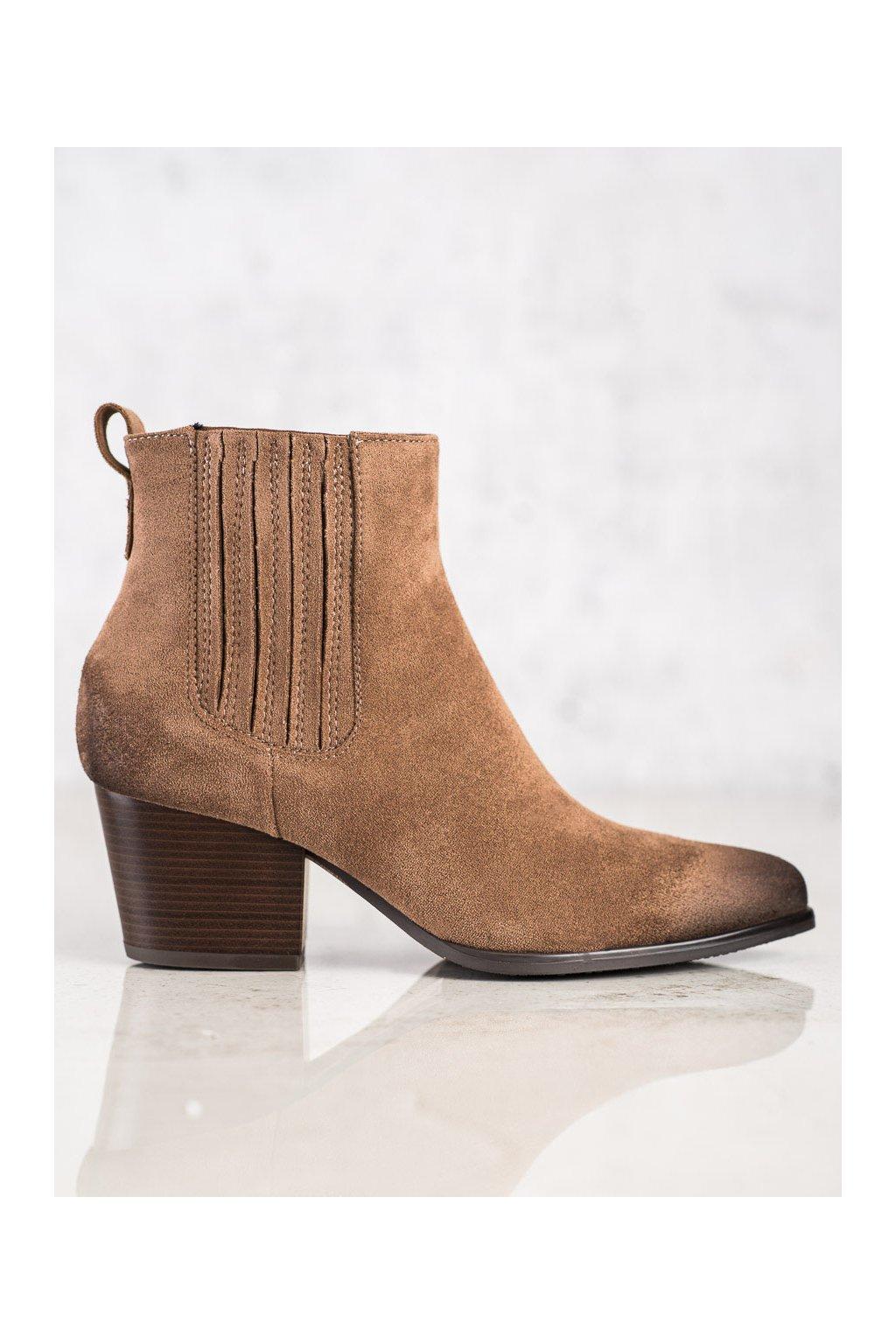 Hnedé dámske topánky Vinceza kod XY22-10637BR