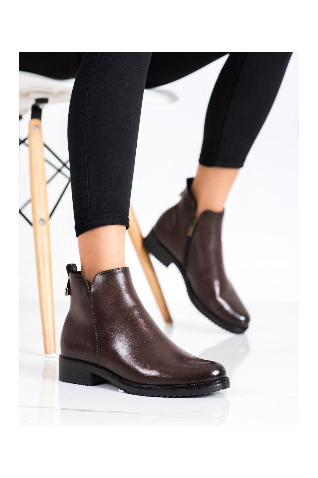 Hnedé dámske topánky Vinceza kod XY22-10669BR