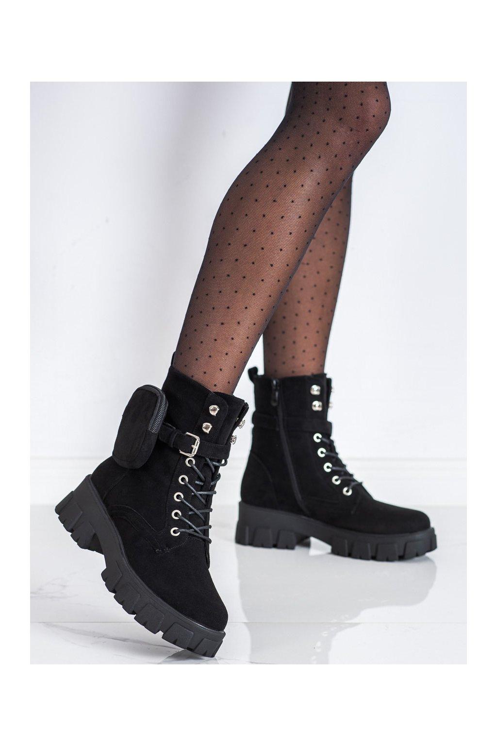 Čierne dámske topánky Vinceza kod HX22-16274B