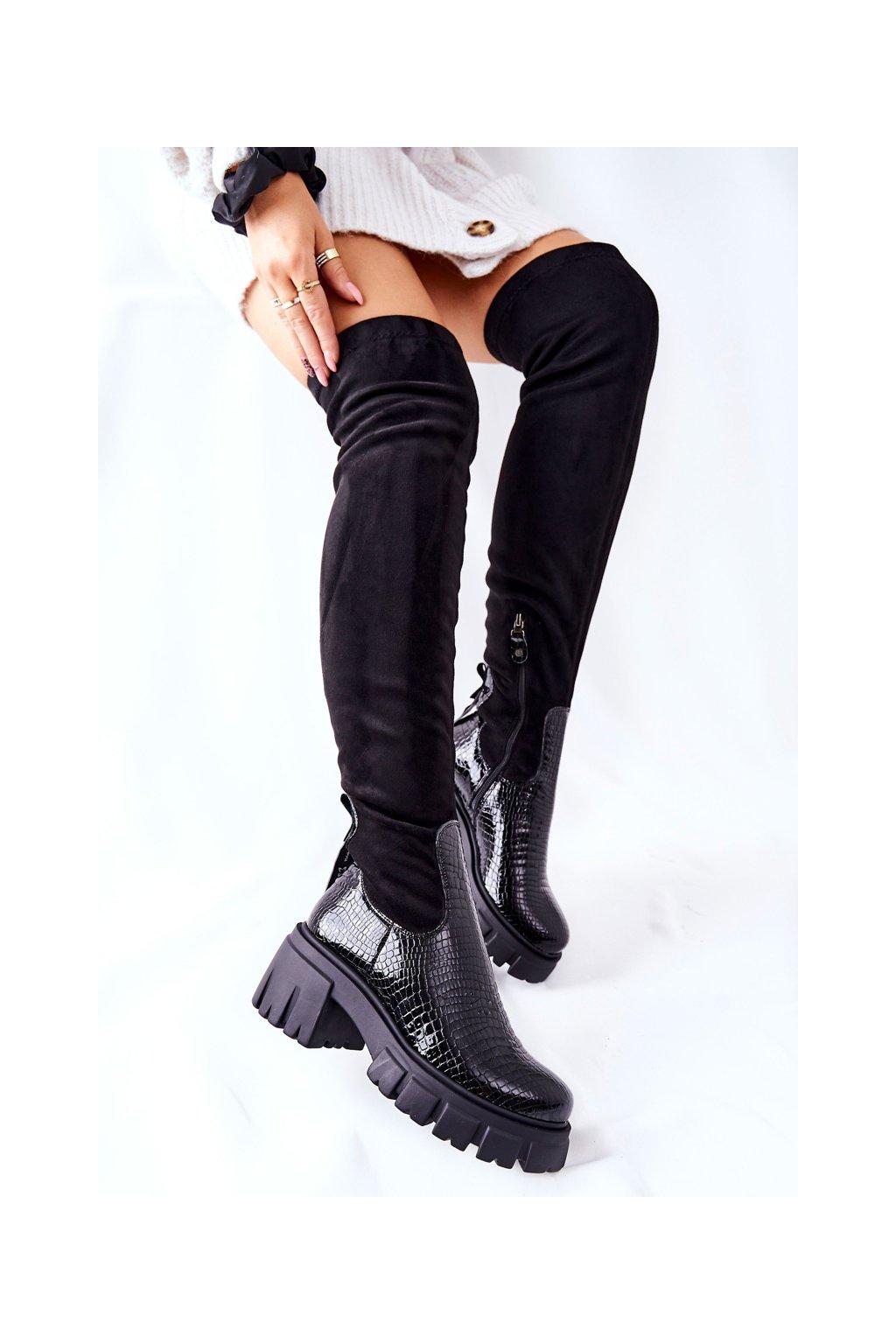 Dámske čižmy farba čierna kód obuvi 05260-01 BLK