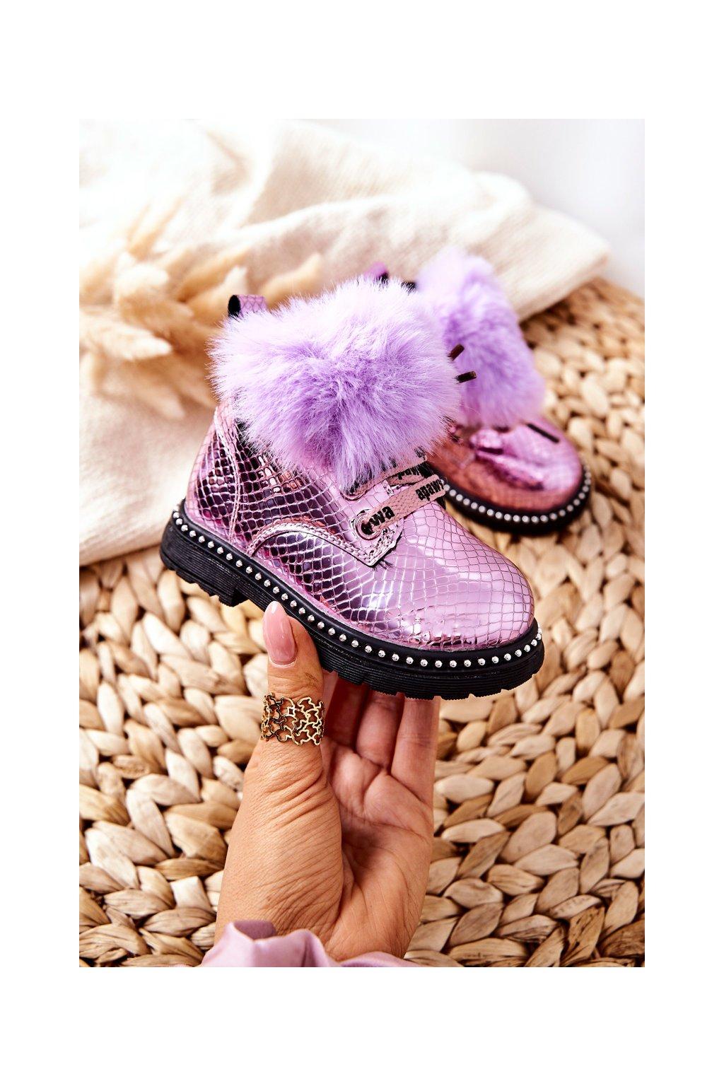 Detské členkové topánky farba fialová kód obuvi NQ236/237 PURPLE