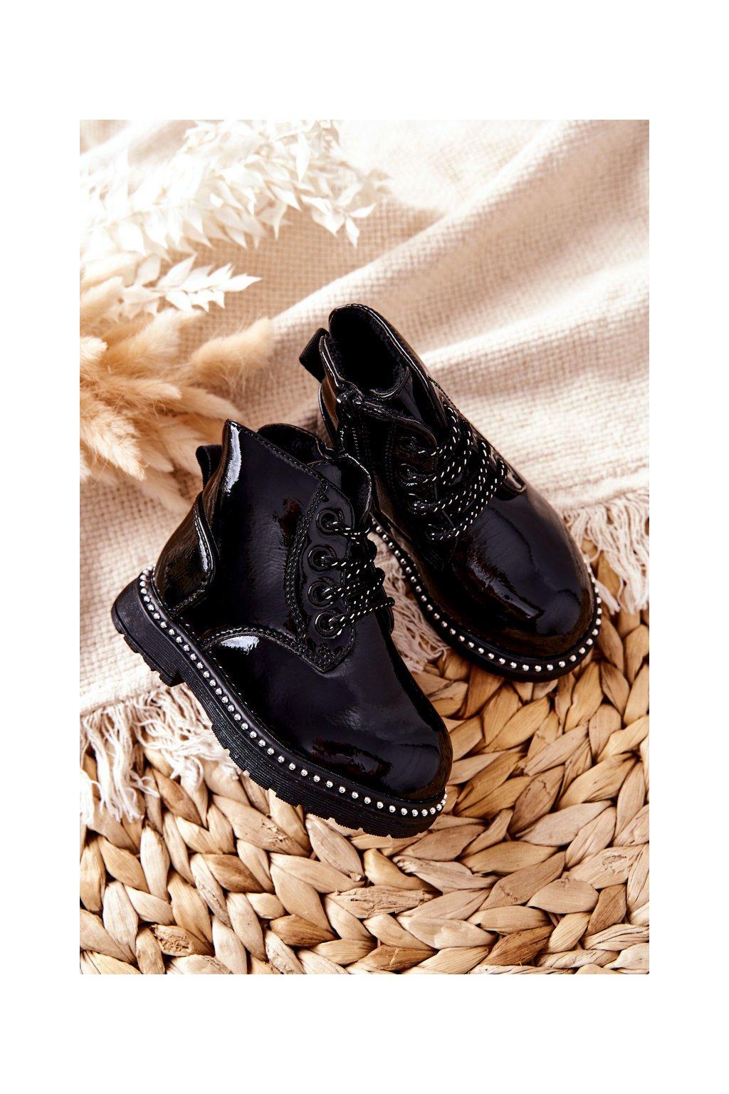 Detské členkové topánky farba čierna kód obuvi NQ68/69/70 BLK