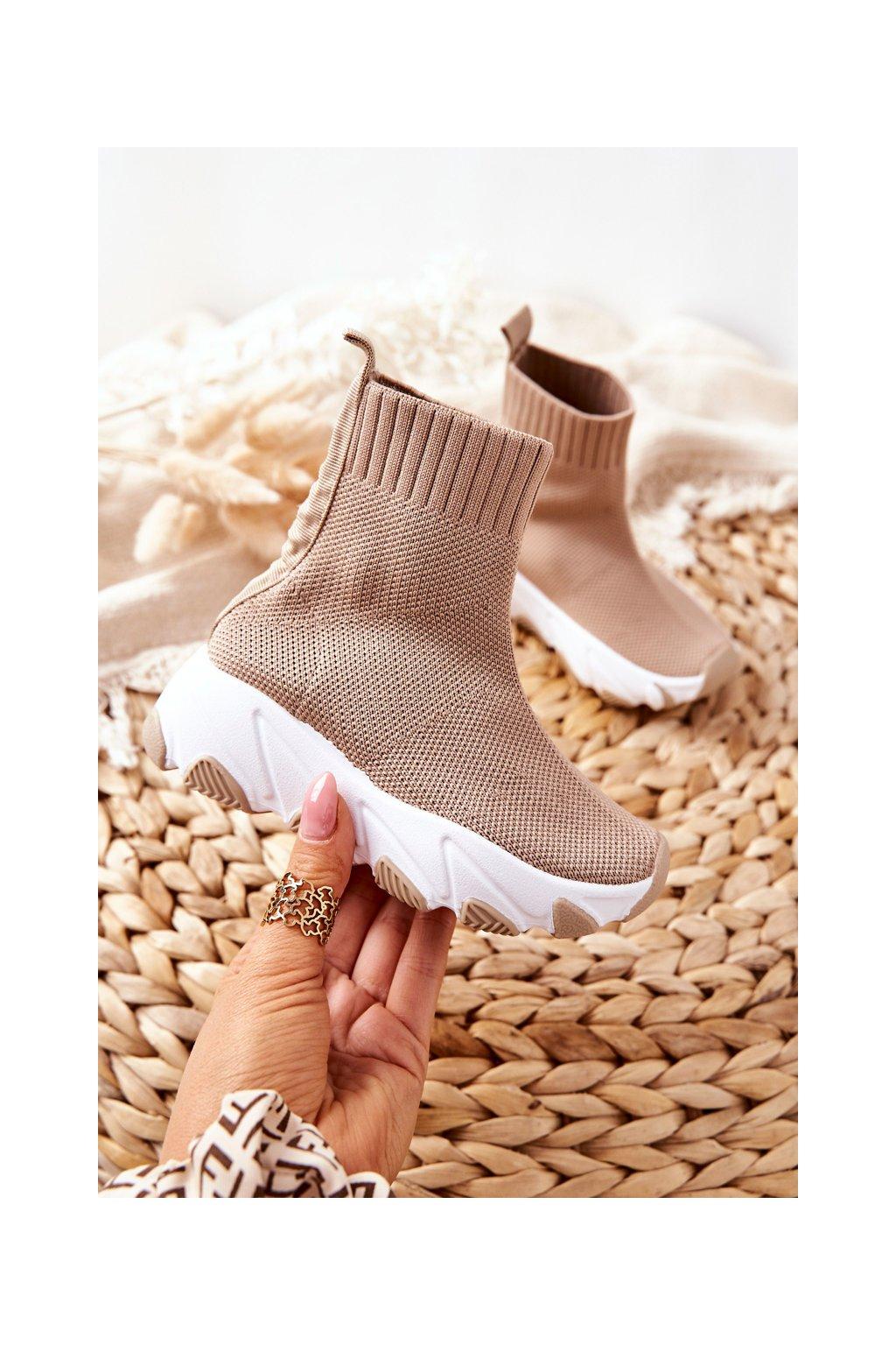Detské tenisky farba hnedá kód obuvi 818-C KHAKI