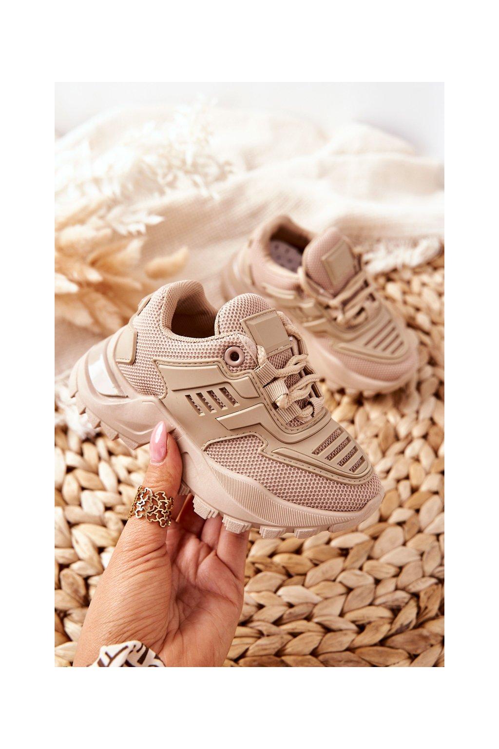 Detské tenisky farba hnedá kód obuvi 811-D KHAKI