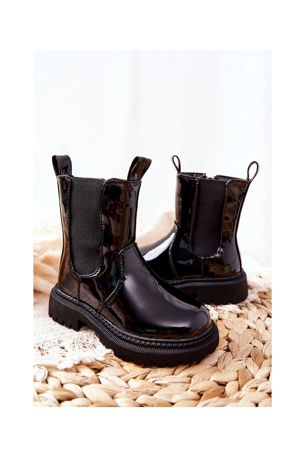Detské členkové topánky farba čierna kód obuvi 7352-B L.BLK
