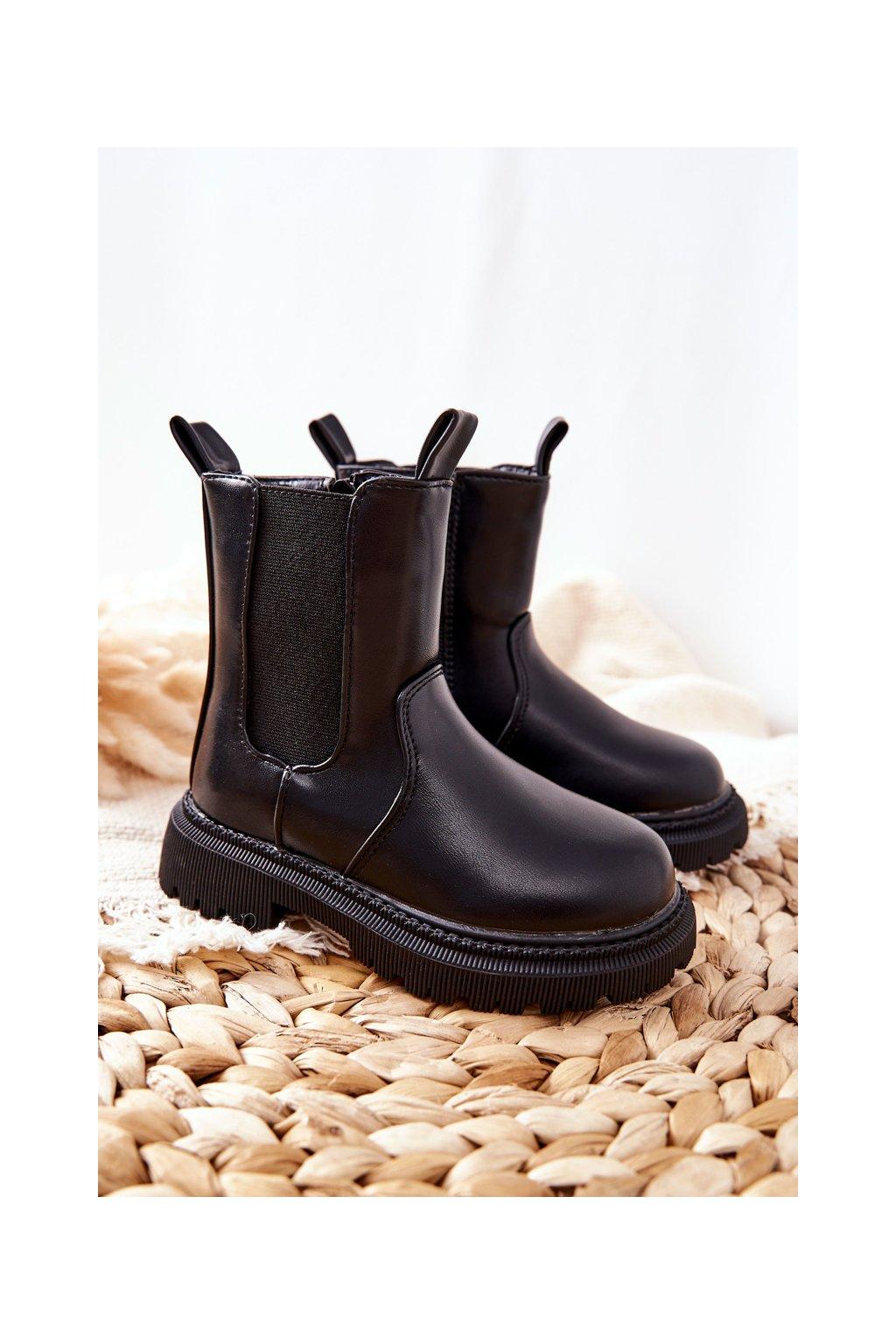 Detské členkové topánky farba čierna kód obuvi 7352-A BLK
