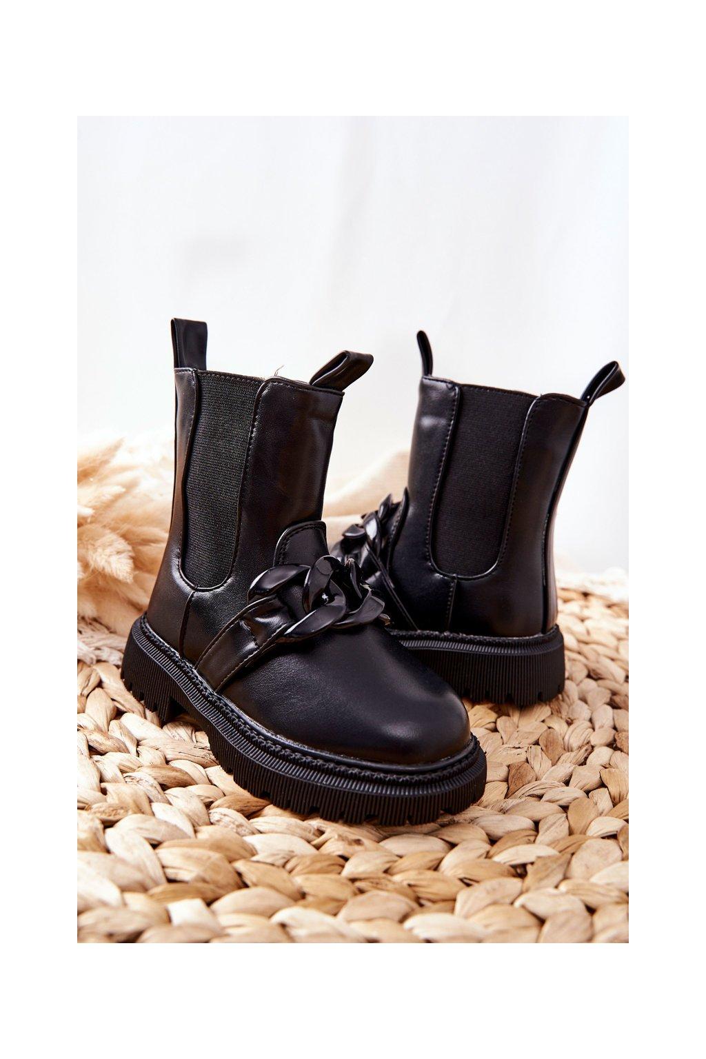 Detské členkové topánky farba čierna kód obuvi 7353-A BLK