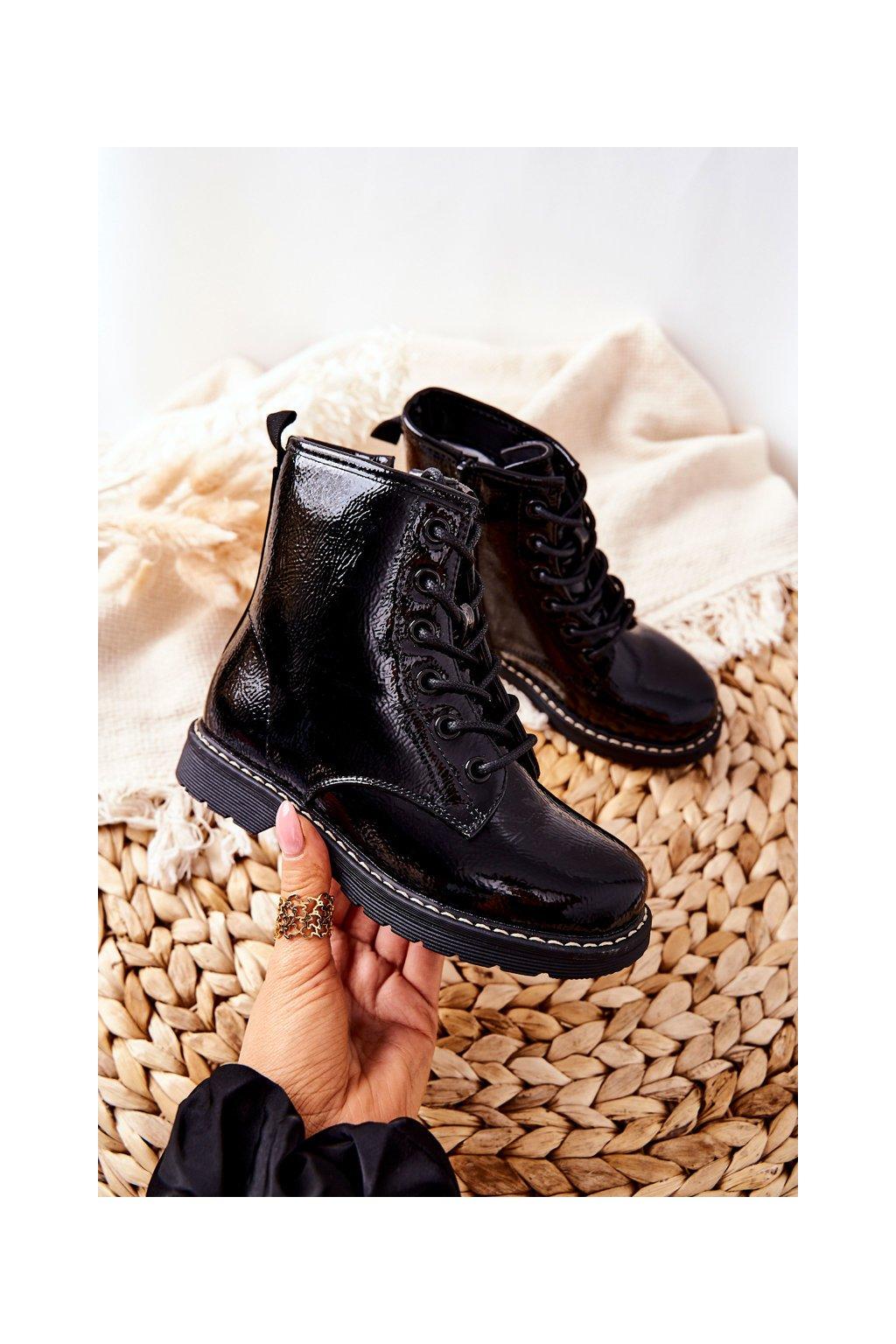 Detské členkové topánky farba čierna kód obuvi 22-16257 BLK