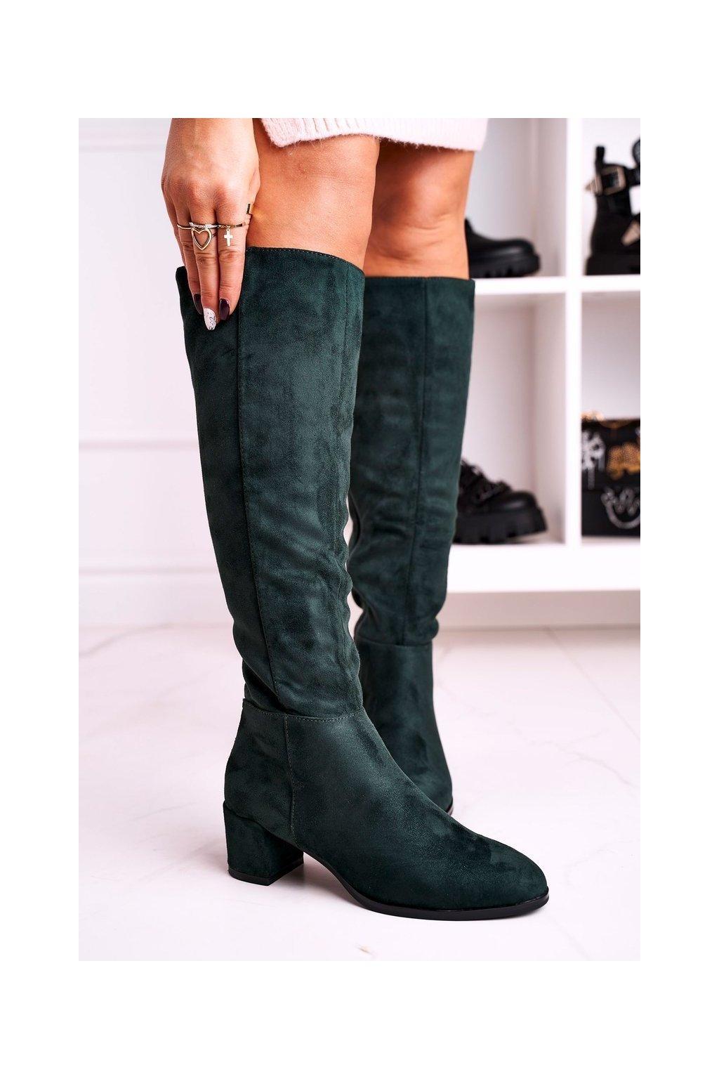 Dámske čižmy farba zelená kód obuvi KZ273 GREEN MIC