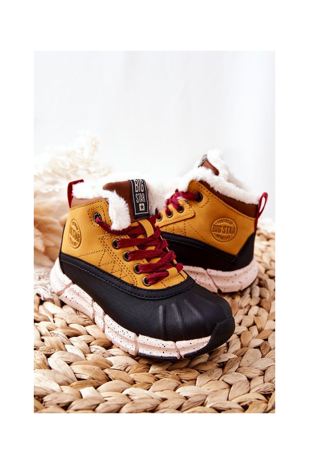 Detské členkové topánky farba čierna kód obuvi II374072 CAMEL