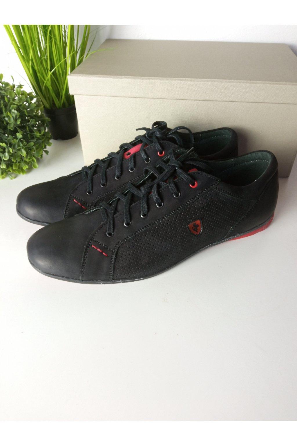 Čierne kožené pánske topánky NJSK 228CZ/D1-L9