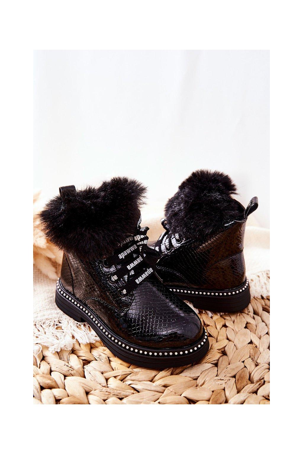 Detské členkové topánky farba čierna kód obuvi NQ237 BLACK