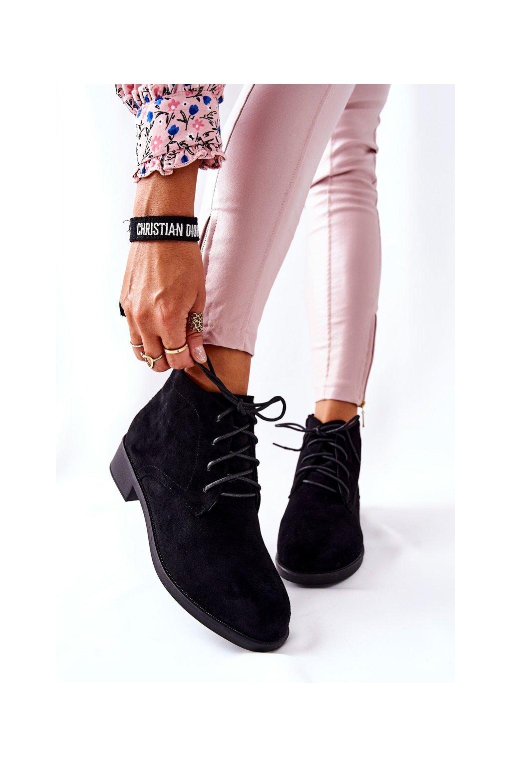 Členkové topánky na podpätku farba čierna kód obuvi RM01-1 BLK