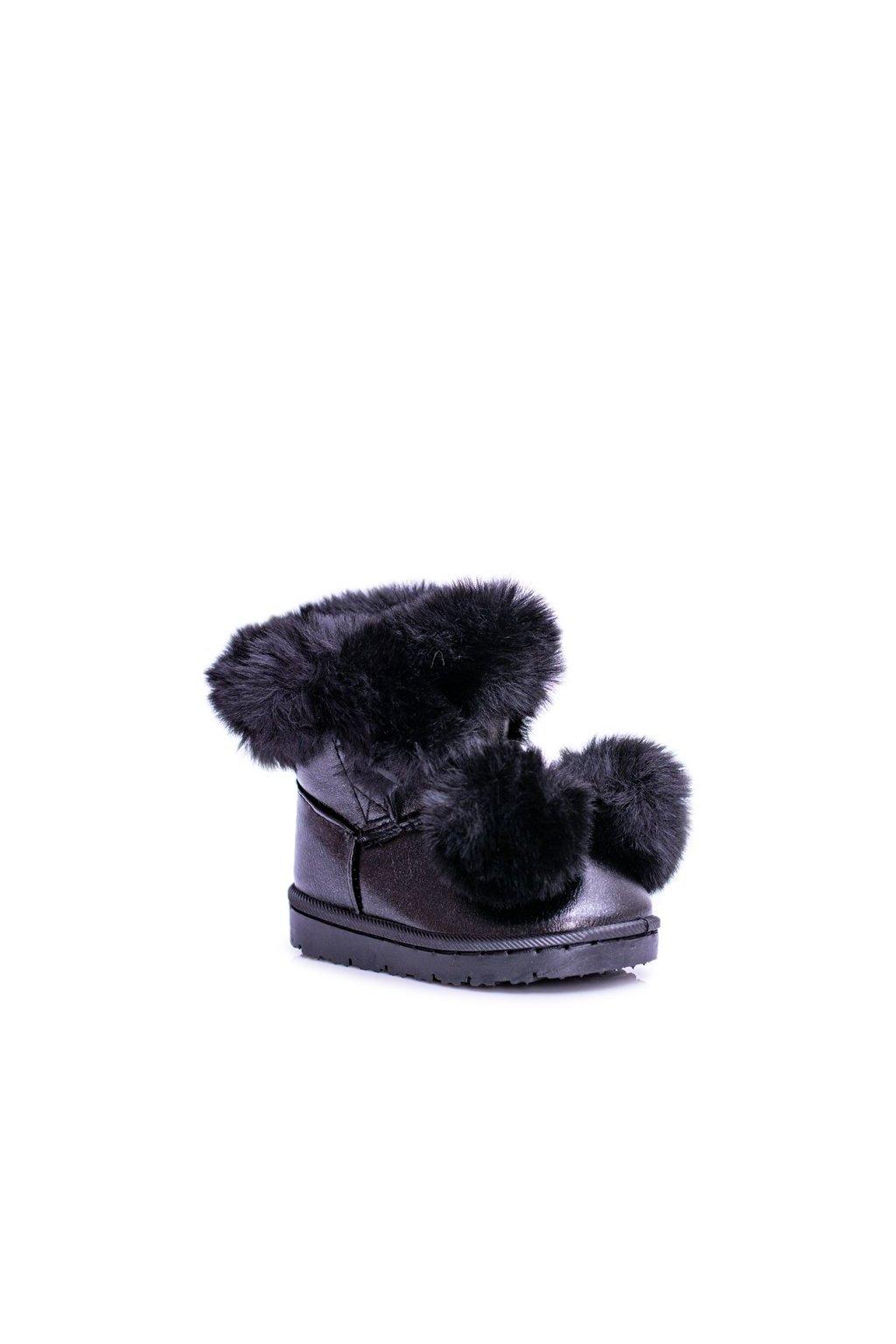 Detské snehule farba čierna kód obuvi 20215-1A/2A BLK